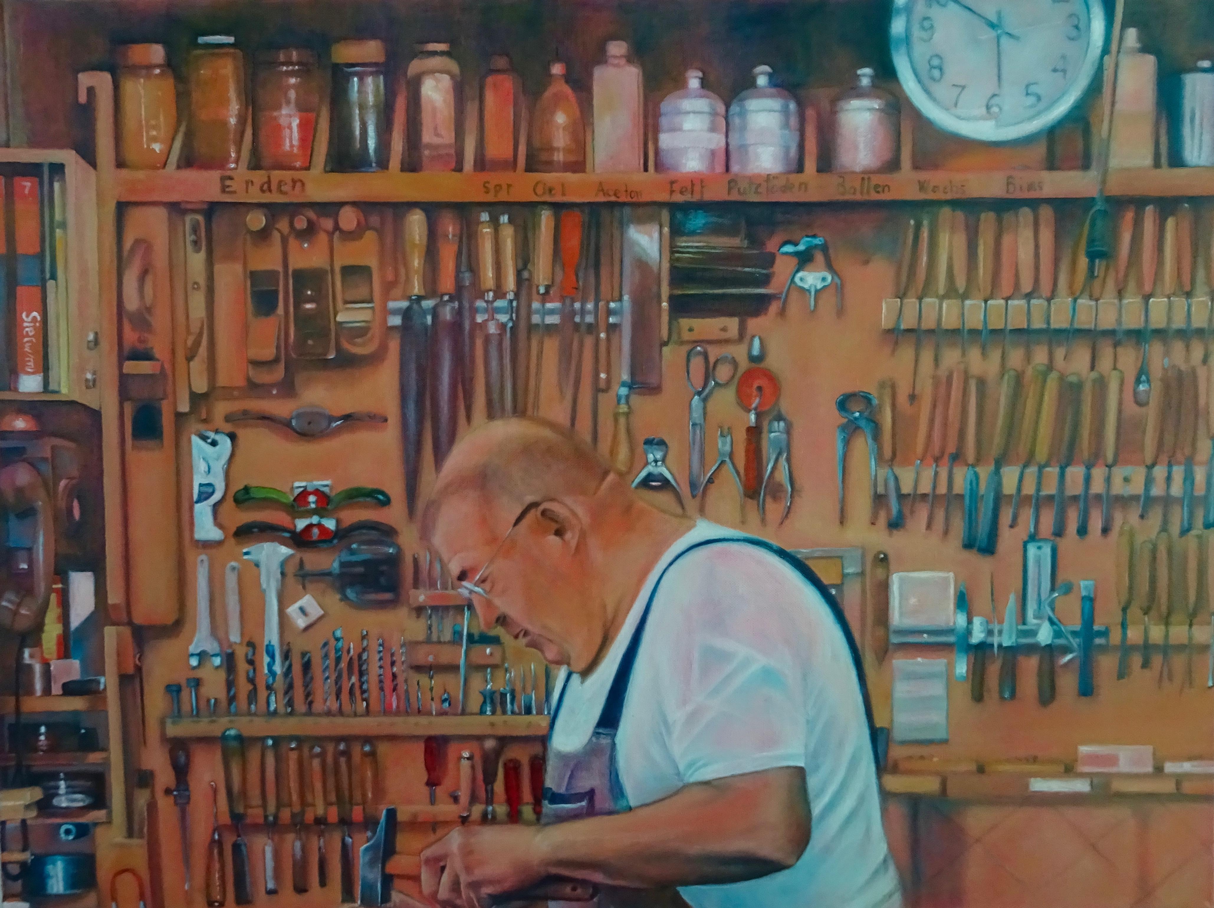 Heinz Müller in der Werkstatt